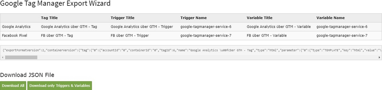 Export Wizard für den Google Tag Manager