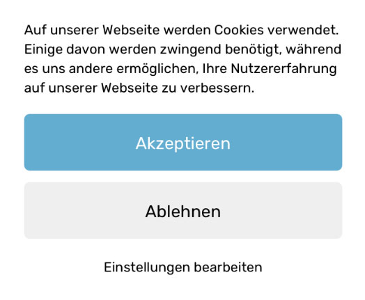 Pop-up der Cookie Consent Lösung